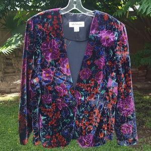 Vtg Norton McNaughton Floral Velvet Blazer size 16